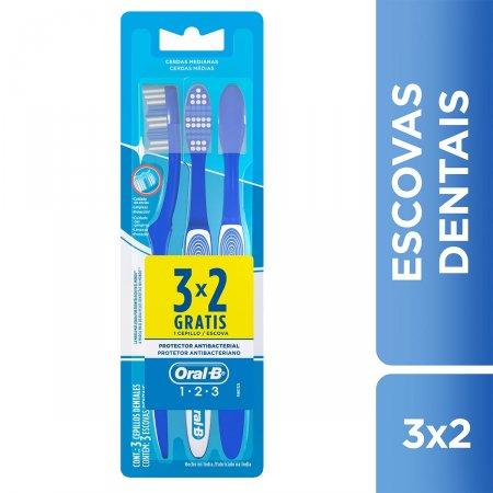 Escova Dental Oral-B 123 Limpeza Brilhante Leve 3, Pague 2