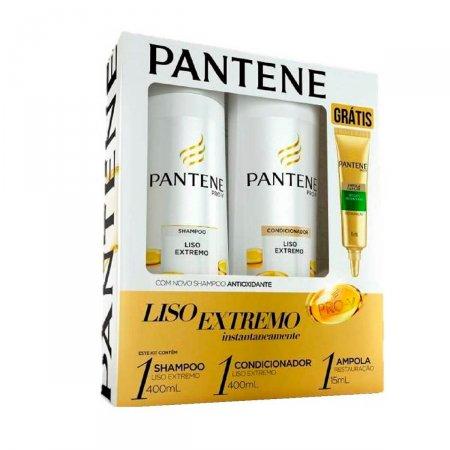 Shampoo + Condicionador Pantene Liso Extremo + Ampola Restauração