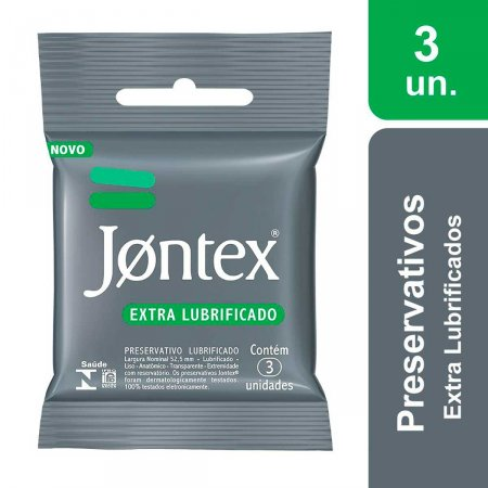 Preservativo Jontex Extra Lubrificado com 3 Unidades