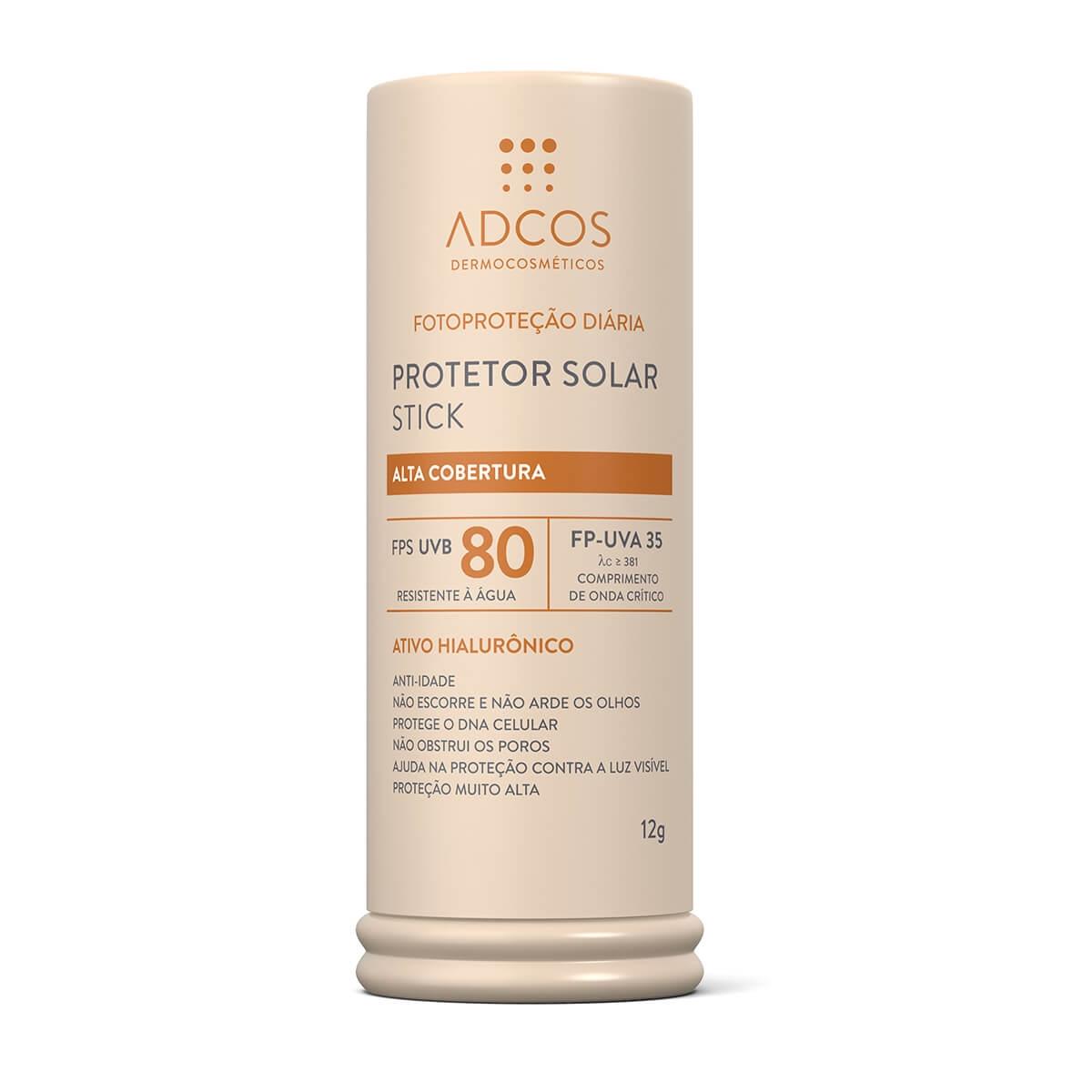 Protetor Solar Facial Base Stick Adcos Alta Cobertura FPS 80 com 12g 12g