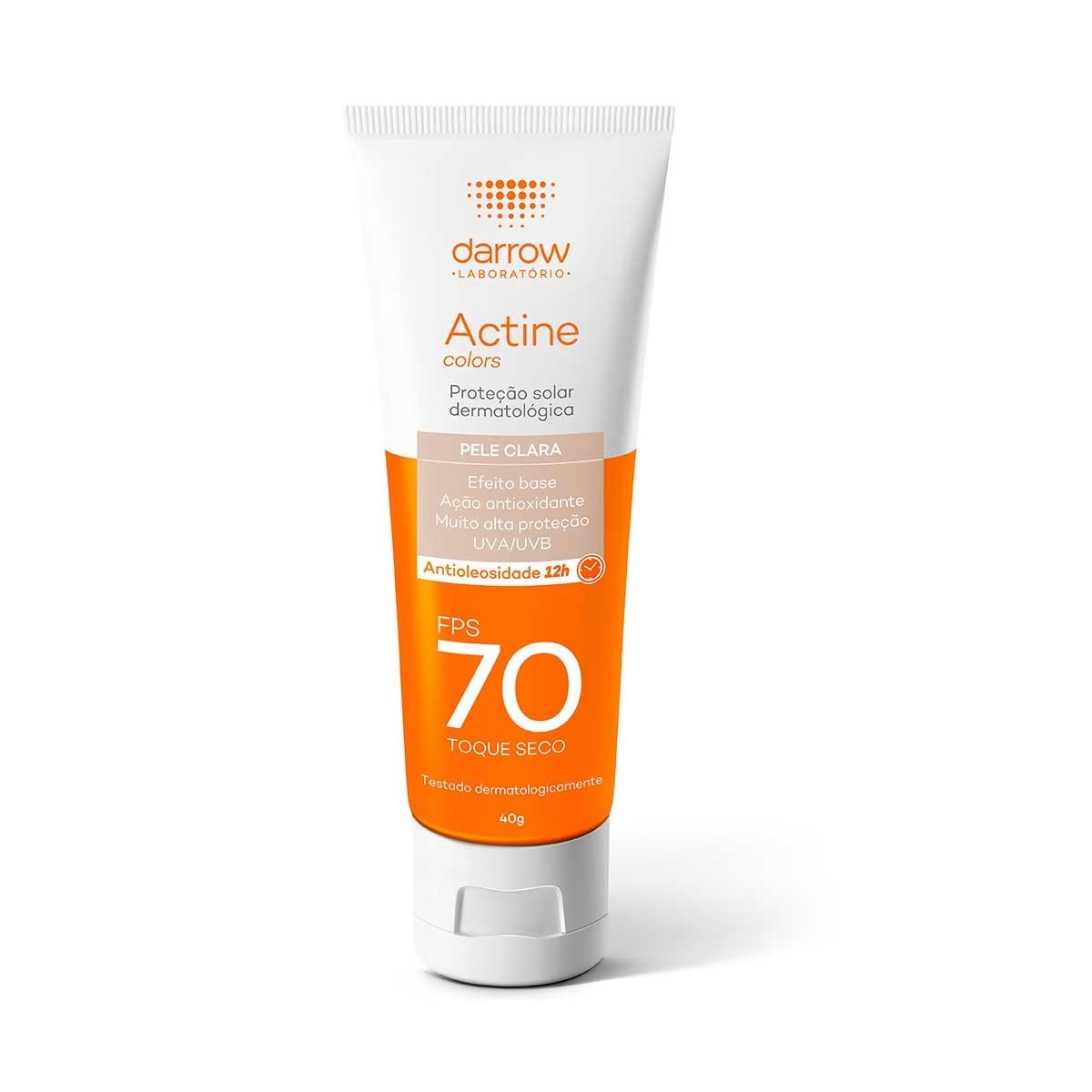 Protetor Solar Facial Darrow Actine Colors Pele Clara FPS 70 Pele Oleosa a Acneica com 40g 40g