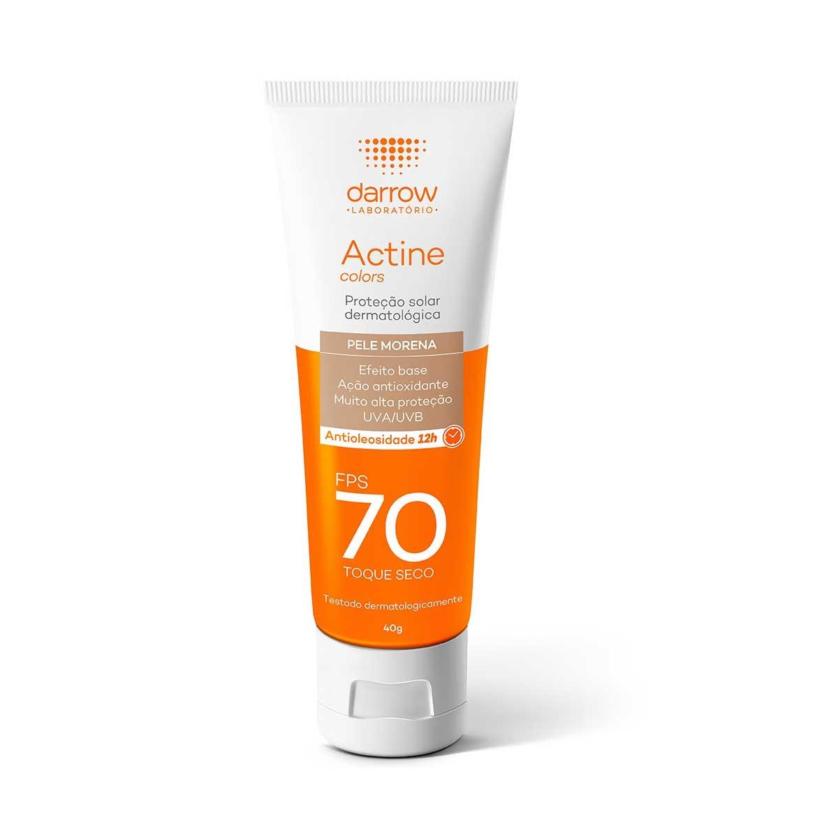 Protetor Solar Facial Actine Colors Pele Morena FPS 70 com 40g Darrow 40g