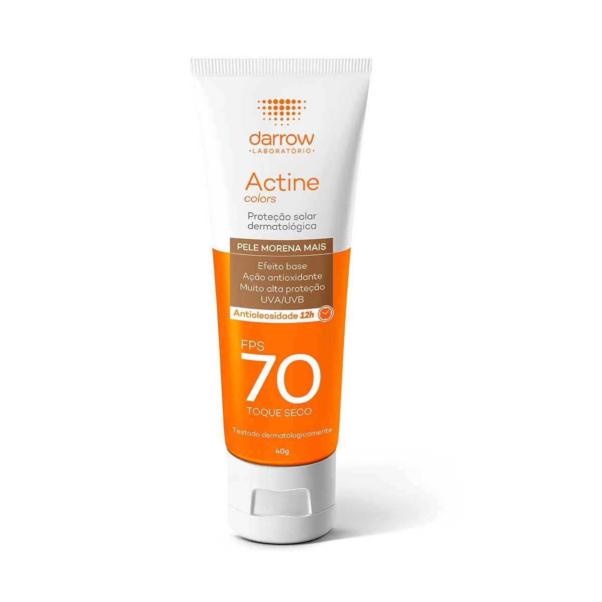 Protetor Solar Facial Actine Colors Pele Morena Mais FPS70 40g Darrow 40g