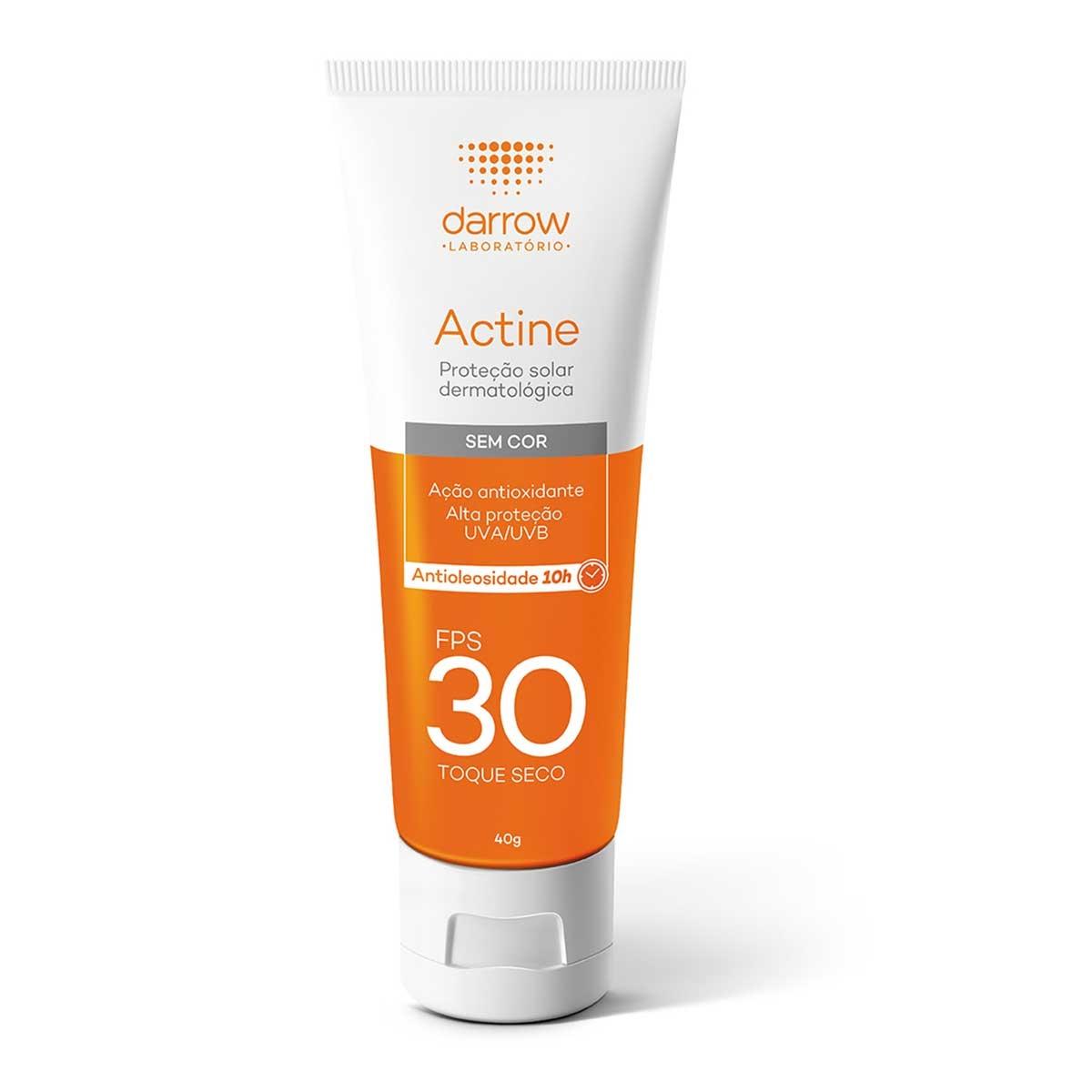 Protetor Solar Facial Actine Sem Cor FPS 30 com 40g Darrow 40g