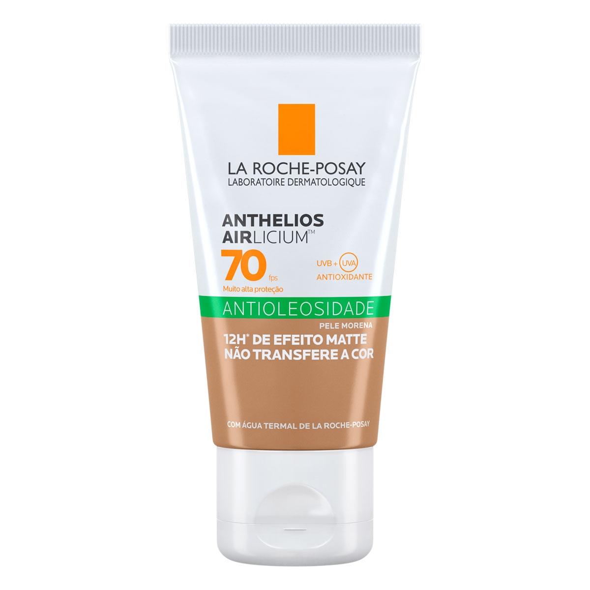 Protetor Solar Facial Com Cor La Roche-Posay Anthelios Airlicium Antioleosidade Pele Morena FPS 70 com 40g 40g