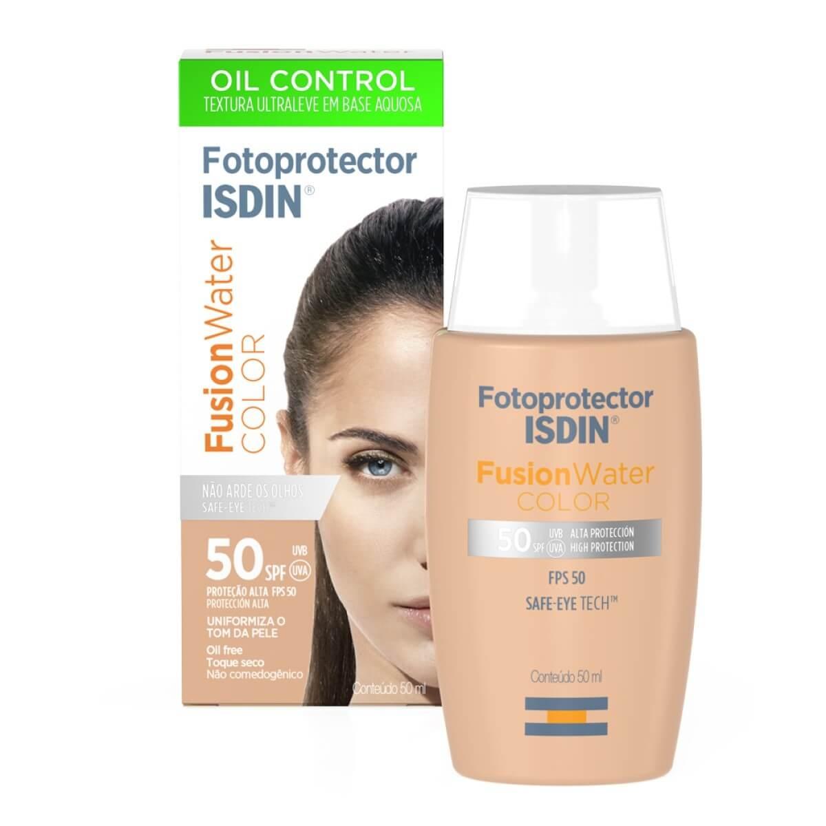 Protetor Solar Facial Isdin Fotoprotector Fusion Water Color FPS 50 com 50ml 50ml