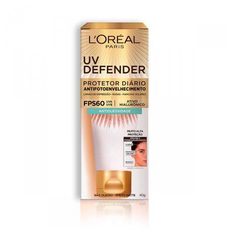 Protetor Solar Facial L'Oréal UV Defender Antioleosidade FPS60 40g   Drogasil.com Foto 1
