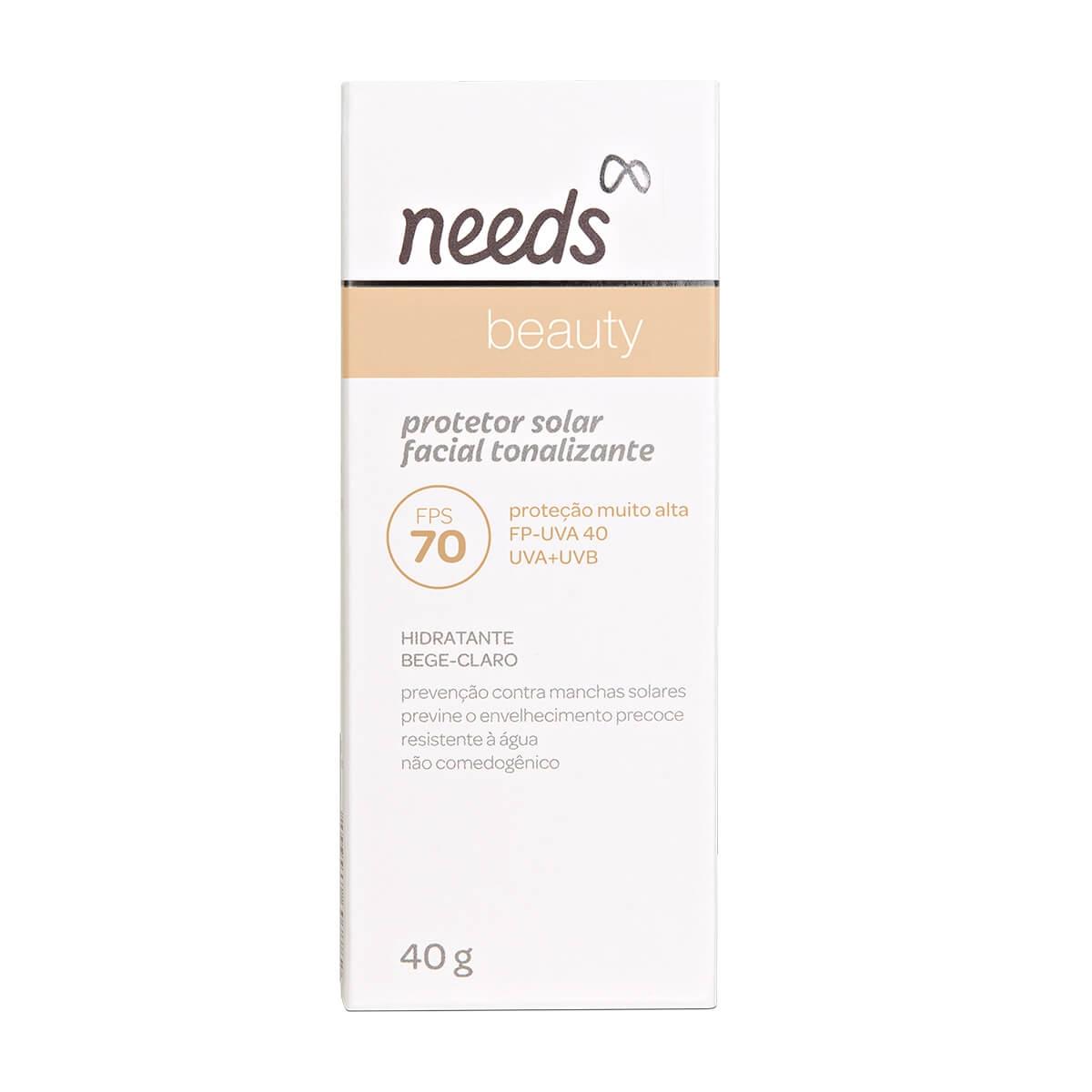 Protetor Solar Facial Needs Beauty Bege Claro FPS70 40g
