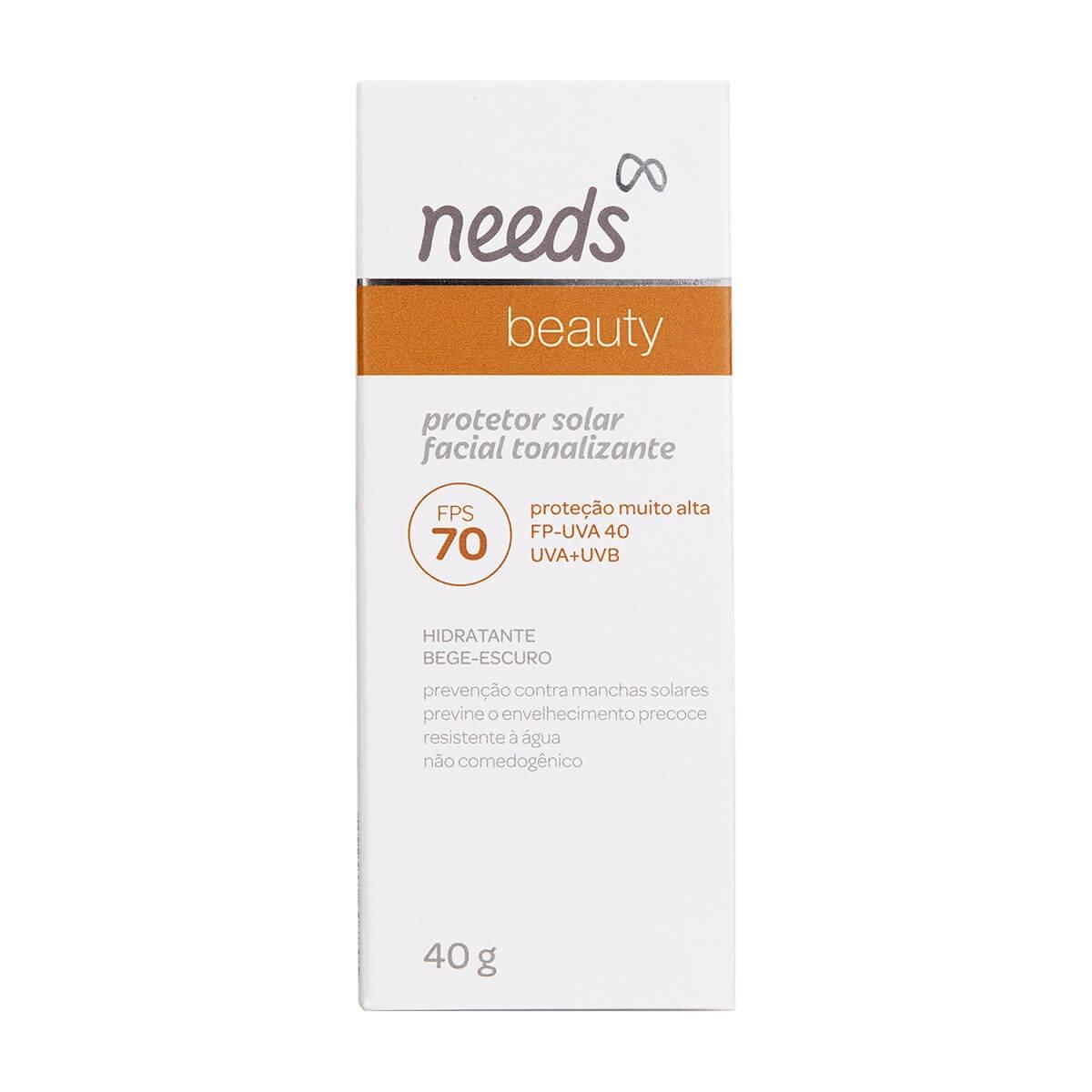 Protetor Solar Facial Needs Beauty Bege EScuro FPS70 40g