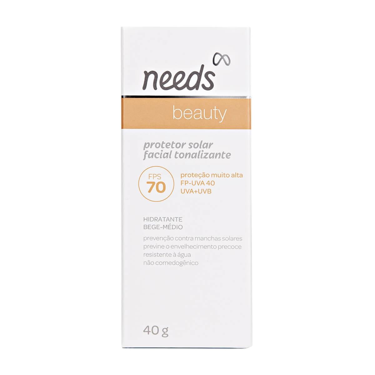 Protetor Solar Facial Needs Beauty Hidratante Bege Médio FPS 70 com 40g 40g
