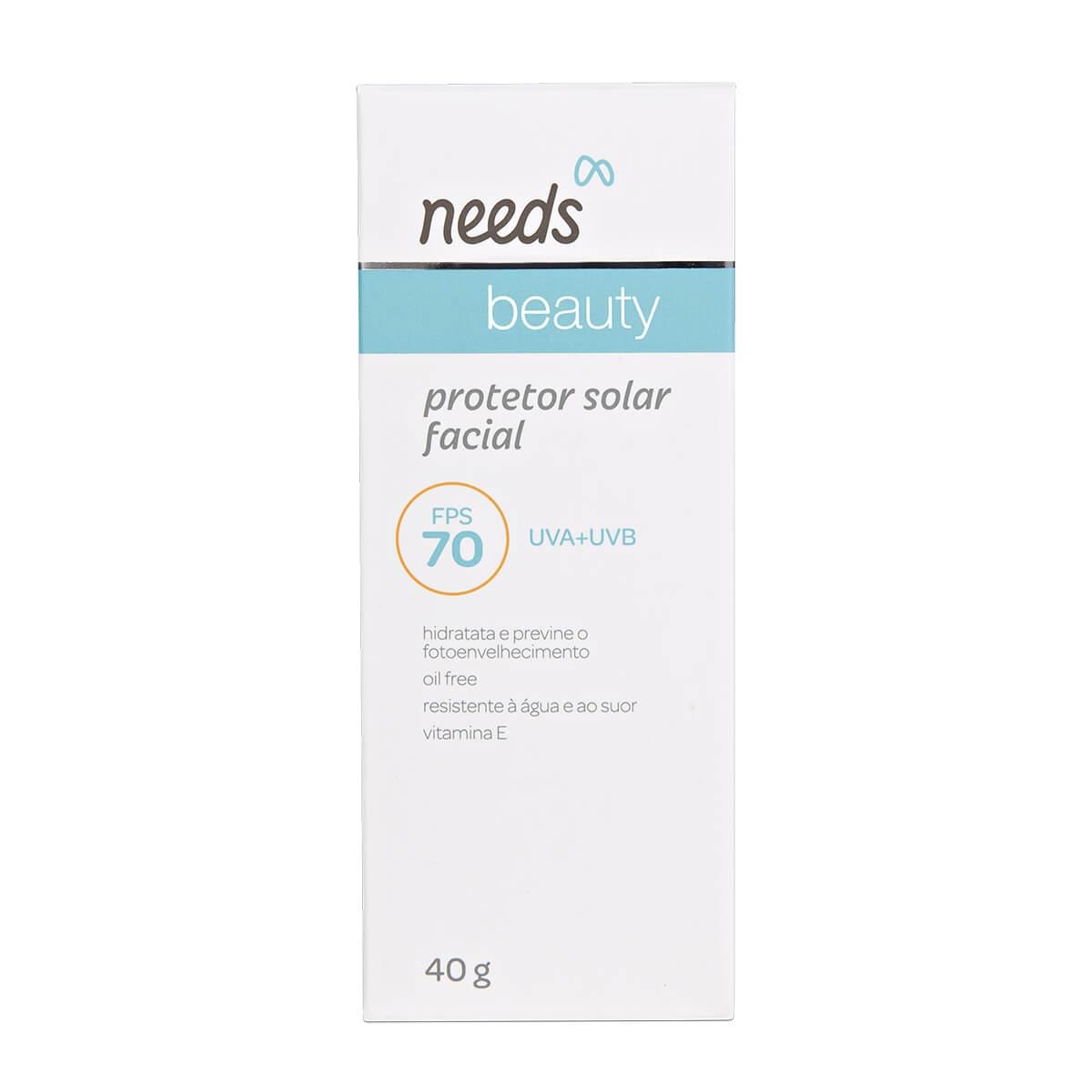 Protetor Solar Facial Needs Beauty Oil-Free FPS 70 com 40g 40g
