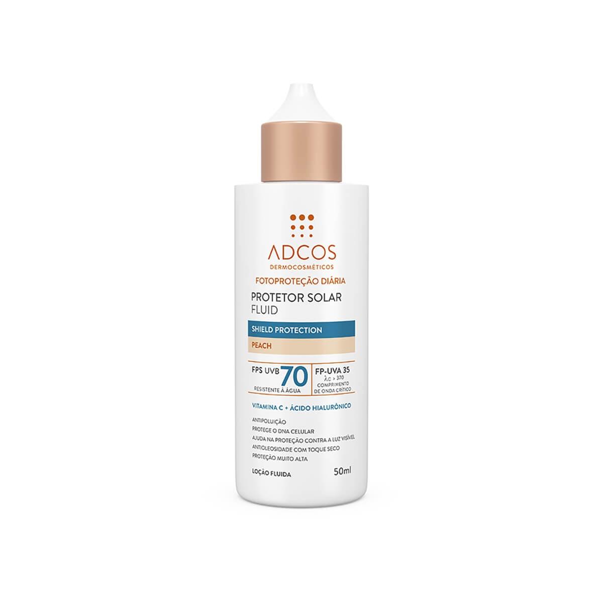 Protetor Solar Fluid Adcos Shield Protection Peach FPS70 50ml