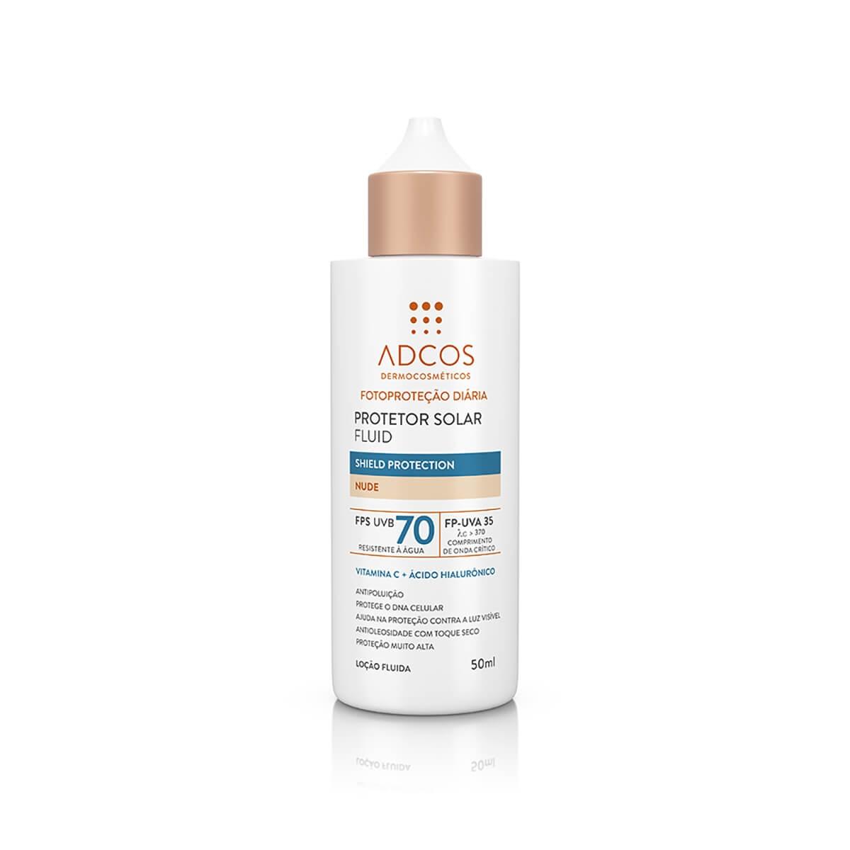 Protetor Solar Fluid Adcos Shield Protection Nude FPS70 50ml