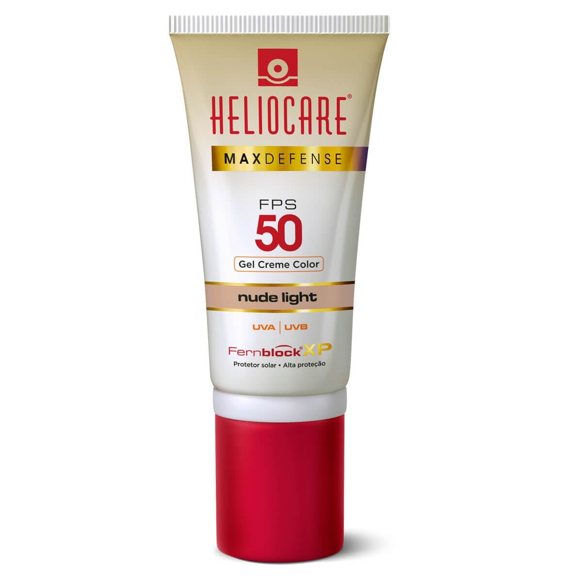 Protetor Solar Gel Creme Color Heliocare Max Defense Nude Light FPS50 50g