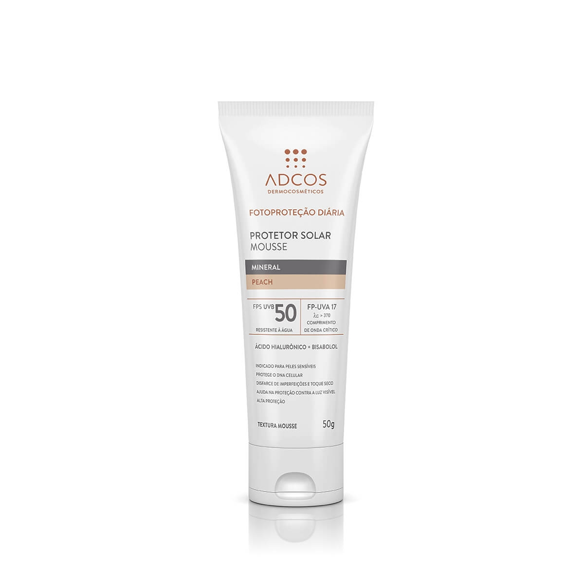 Protetor Solar Mousse Adcos Mineral Peach FPS50 50g
