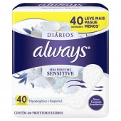 ALWAYS PROTETOR DIARIO SENSITIVE SUMMER COM 40 UNIDADES