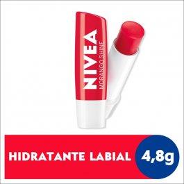 Hidratante Labial Nivea Morango Shine com 4,8g