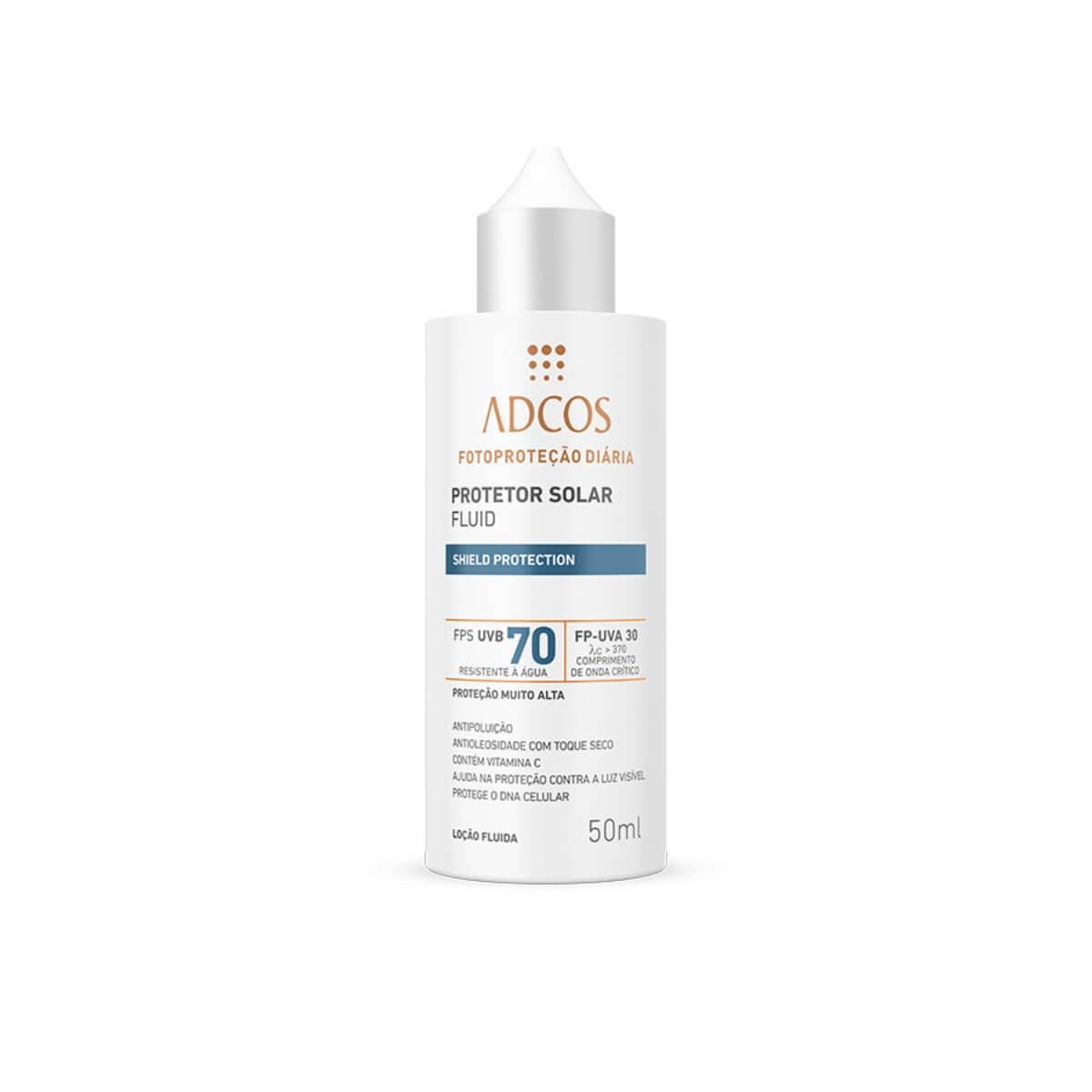 Protetor Solar Facial Adcos Fluido Incolor Shield Protection FPS70 50ml
