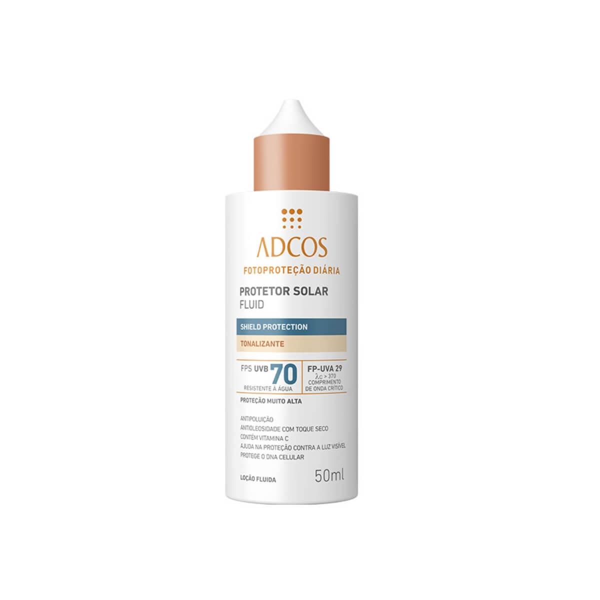 Protetor Solar Facial Adcos Fluido Tonalizante Shield Protection FPS70 50ml