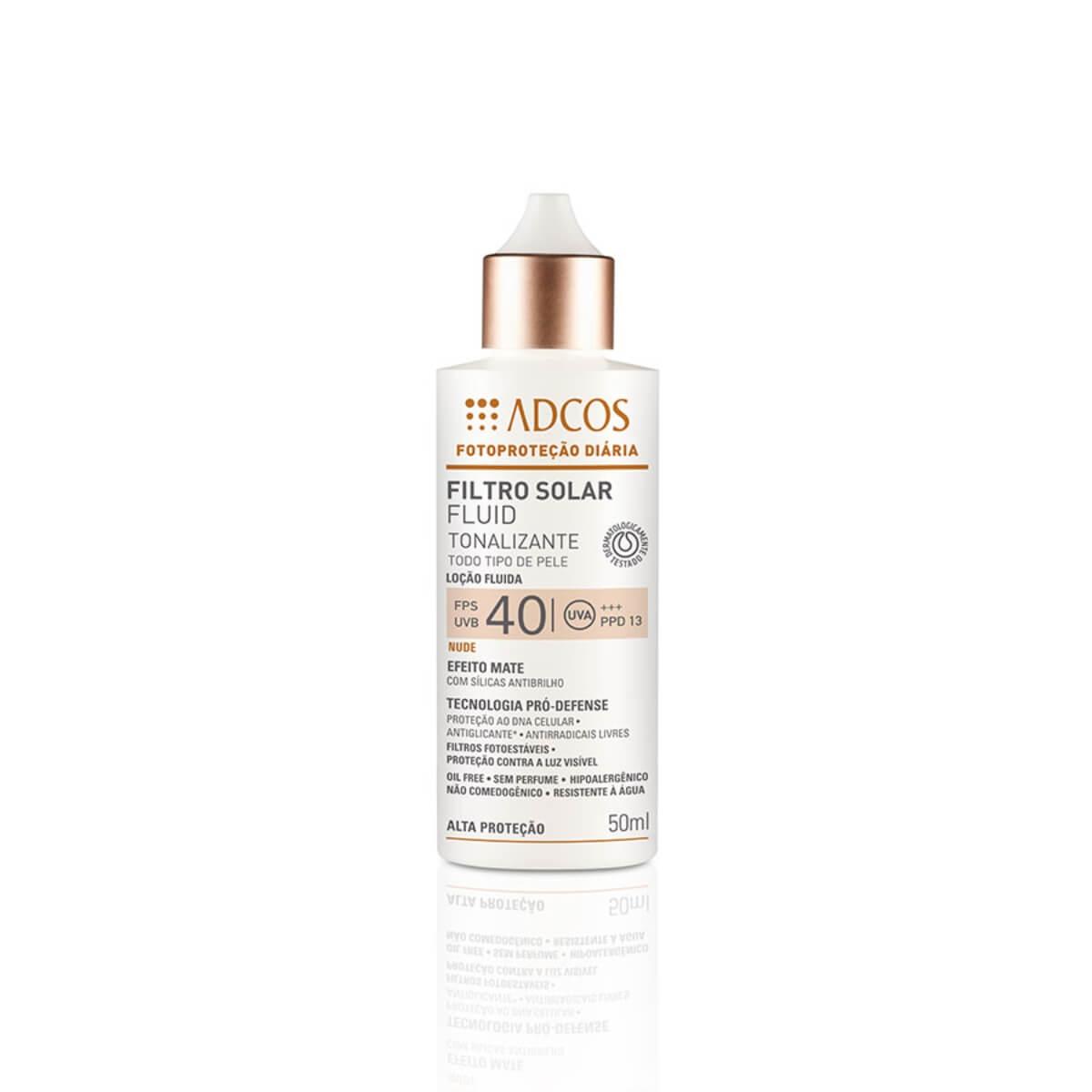 Protetor Solar Facial Adcos Fotoproteção Fluido Tonalizante Nude FPS 40 50ml