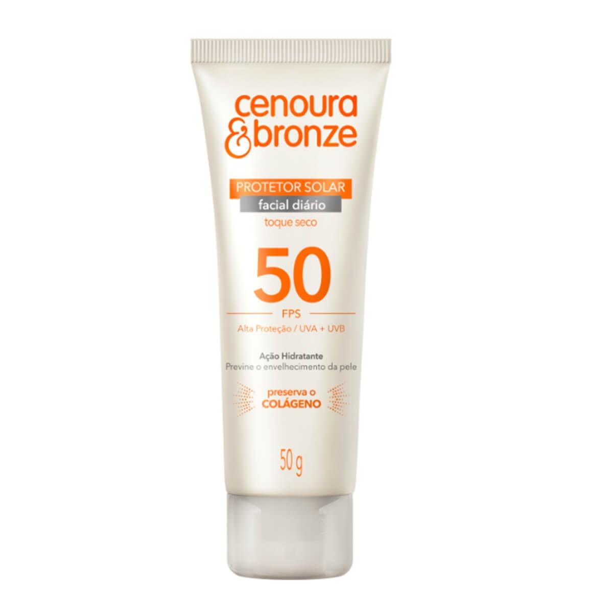 Protetor Solar Facial Cenoura e Bronze FPS50 50g 50g