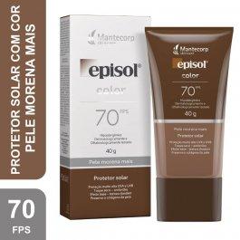 Protetor Solar Facial Episol Com Cor Pele Morena Mais FPS 70 com 40g