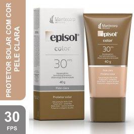 Protetor Solar Episol Color FPS 30 Facial Pele Clara com 40g