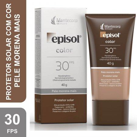 Protetor Solar Facial Episol Color Pele Morena Mais FPS30