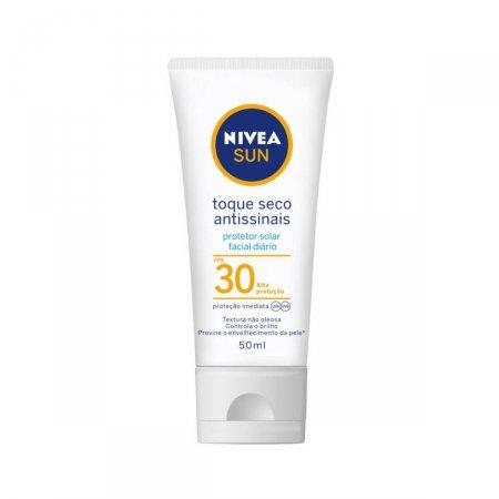 Protetor Solar Facial Nivea Sun Toque Seco Antissinais FPS30 50ml   Drogasil.com Foto 1