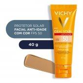 Protetor Solar Facial Vichy Idéal Soleil Anti-idade Toque Seco com Cor FPS50