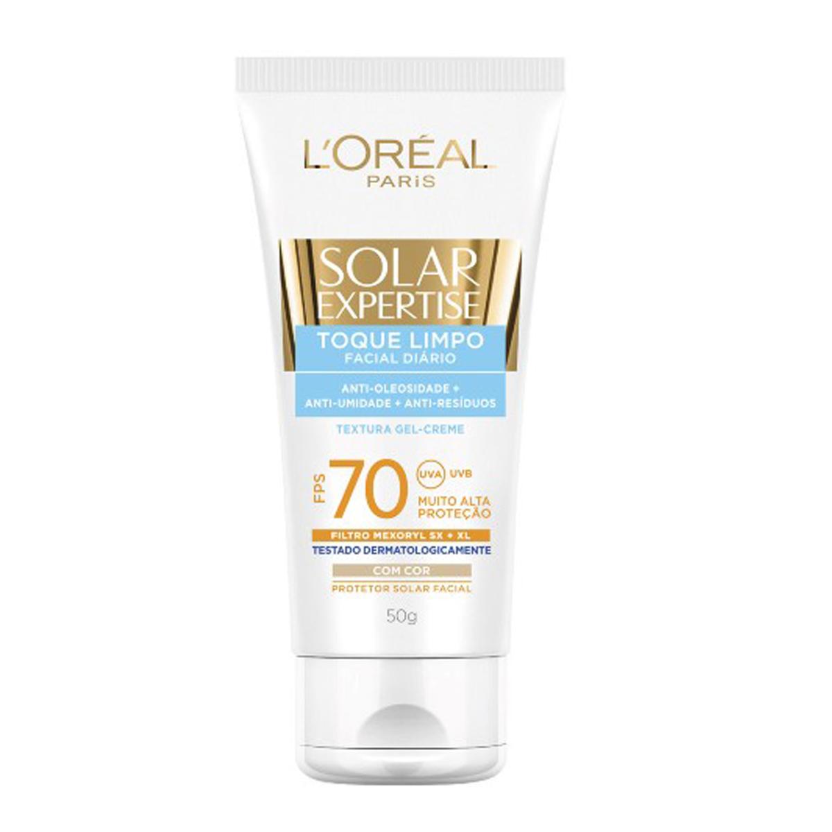 Protetor Solar Facial L'Oréal Expertise Toque Limpo com Cor FPS 70 com 50g 50g