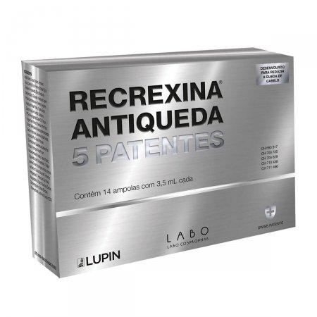 RECREXINA ANTIQUEDA TONICO CAPILAR 5 PATENTES 14 AMPOLAS COM 3,5ML CADA