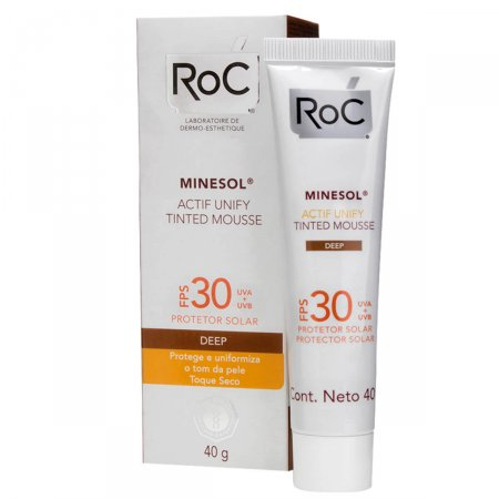 Protetor Solar Roc Minesol Actif Unify Tinted Mousse Deep FPS30