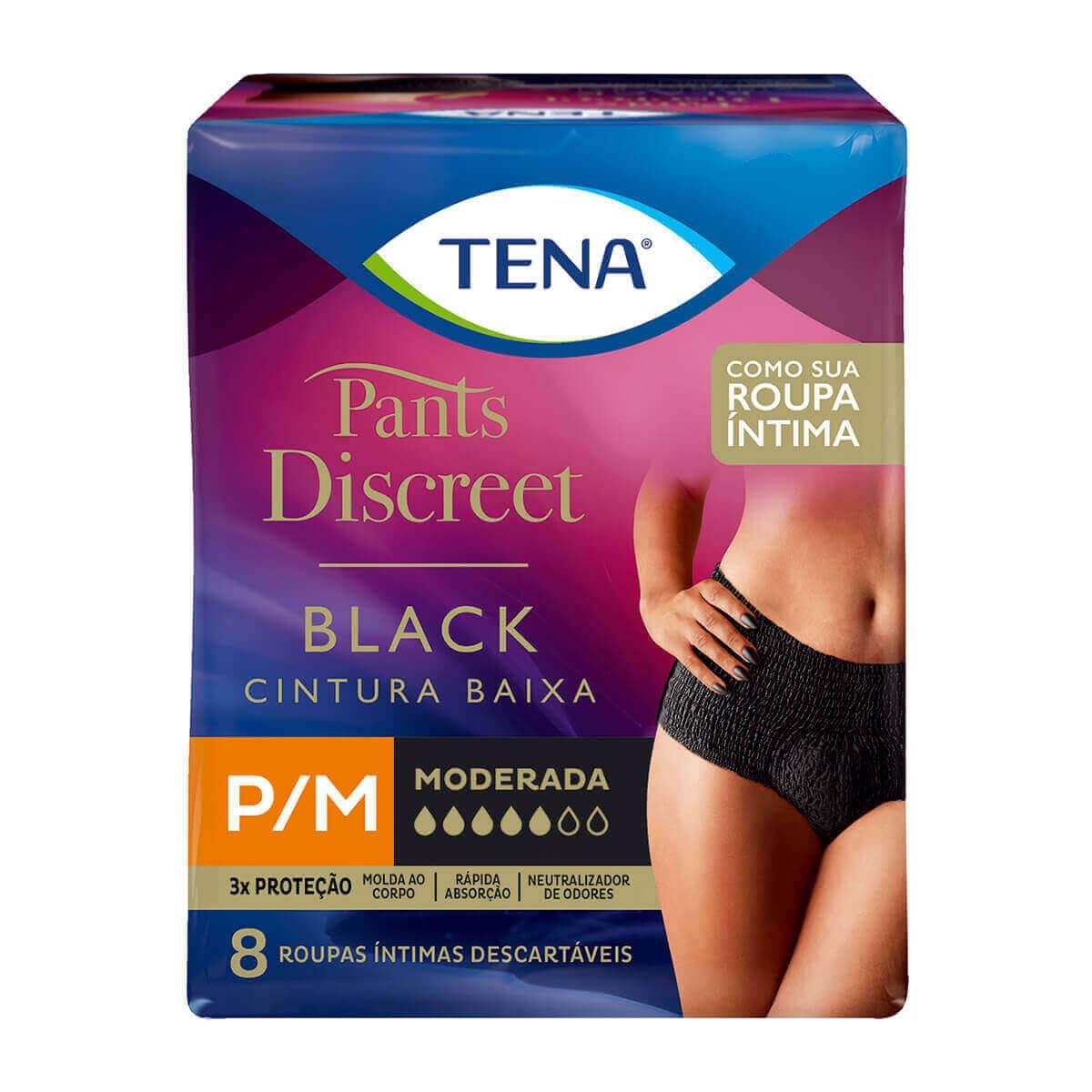 Roupa Íntima Tena Pants Discreet Black Tamanho P/M com 8 Unidades 8 Unidades