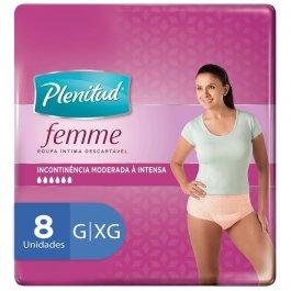 PLENITUD ROUPA INTIMA ACTIVE FEMININA G/XG COM 8 UNIDADES