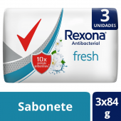REXONA SABONETE ANTIBACTERIANO FRESH 3 UNIDADES 84G