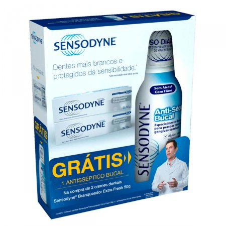 Sensodyne Kit 2 Cremes Dentais Branqueadores 50g Grátis Enxaguante Bucal 250ml
