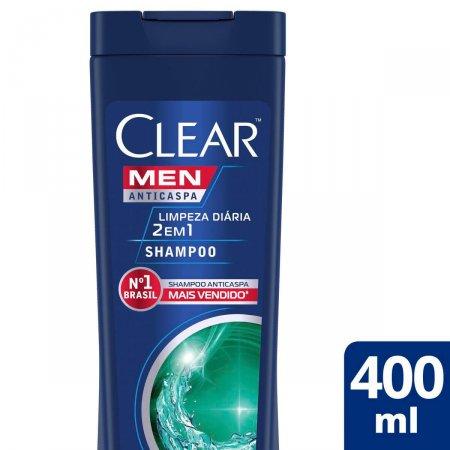 Shampoo Anticaspa Limpeza Diária 2 em 1 Clear Men 400ml | Drogasil.com Foto 2