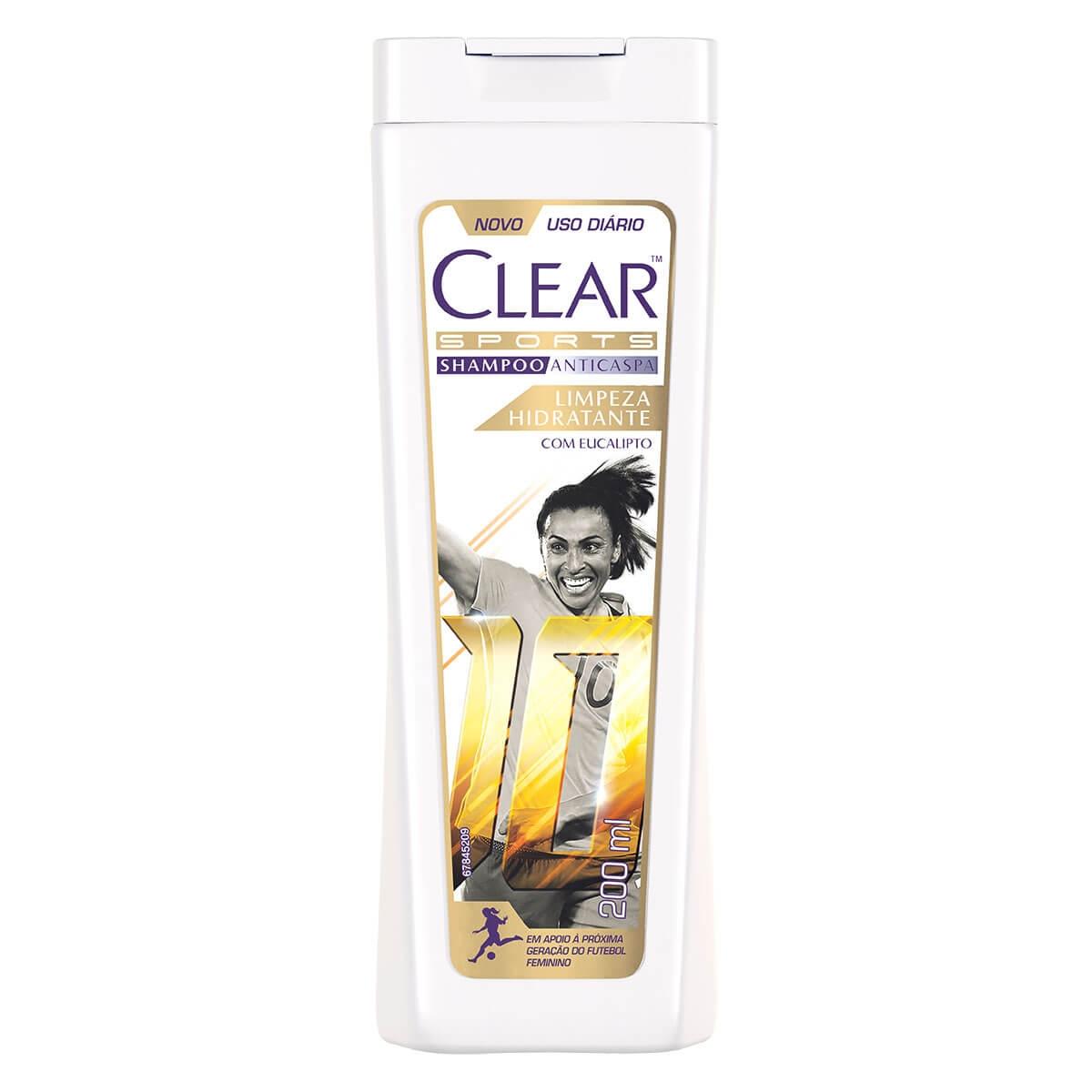 Shampoo Anticaspa Clear Sports Women Limpeza Hidratante com 200ml 200ml