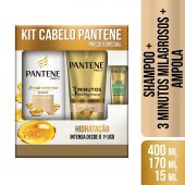 PANTENE KIT SHAMPOO HIDRATACAO 400ML + 3MM HIDRATACAO 170 ML - GRATIS AMPOLA RESTAURACAO 15ML