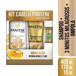 Kit Pantene Hidratação Intensa Shampoo com 400ml + Condicionador com 170ml + Ampola Restauração com 15ml