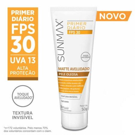 Protetor Solar Sunmax Primer Matte Aveludado FPS 30 Pele Oleosa