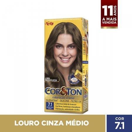 COR&TON MINI KIT CREME COLORACAO PERMANENTE 7.1 LOURO CINZA MEDIO