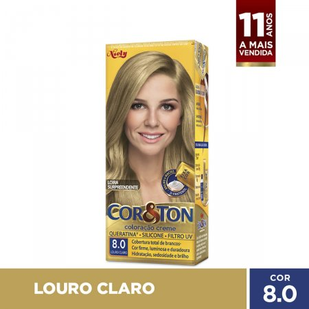COR&TON MINI KIT COLORACAO PERMANENTE  8.0 LOURO CLARO