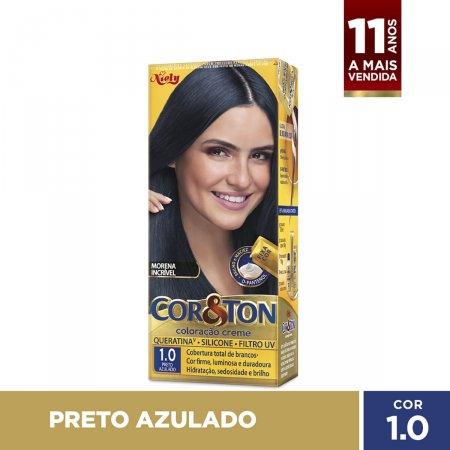 COR&TON MINI KIT COLORACAO PERMANENTE 1.0 PRETO AZULADO