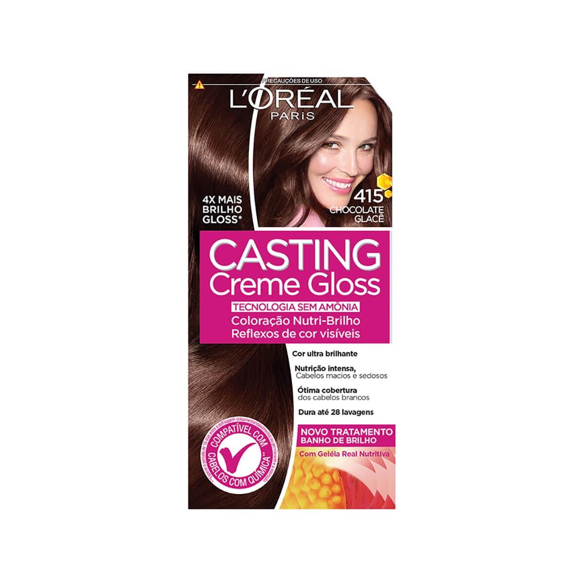 Tintura Semi-Permanente Casting Creme Gloss 415 Chocolate Glacê L'Oréal 1 Unidade