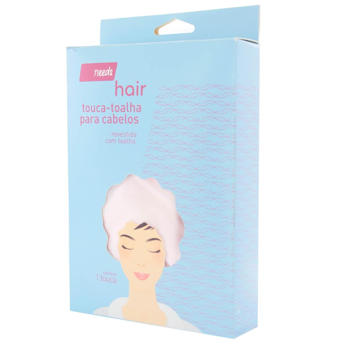 Touca de Cabelo para Banho Needs Rosa Atoalhada com 1 Unidade 1 Unidade