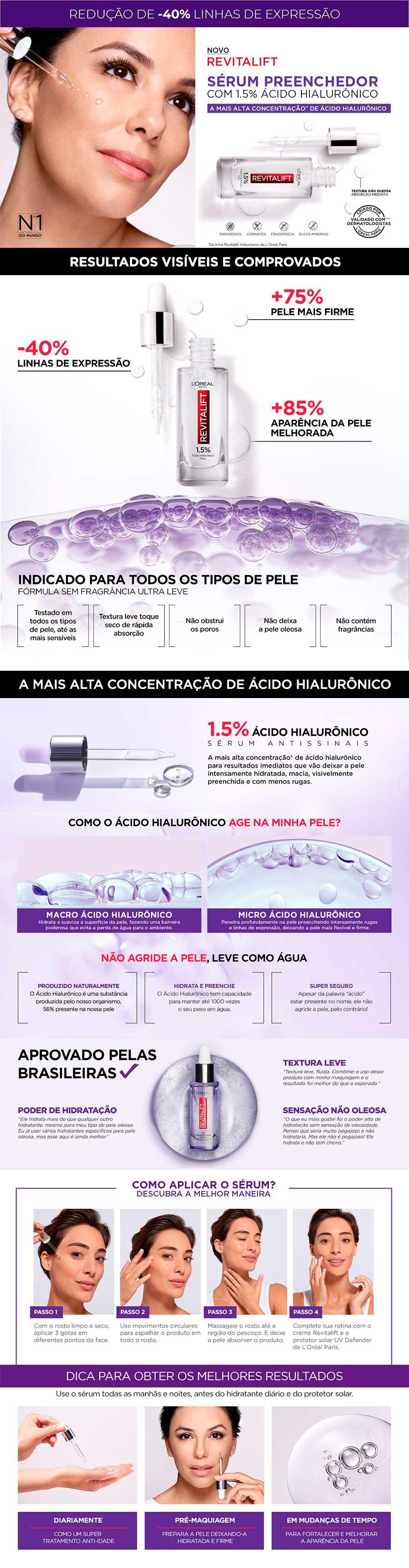 Sérum Preenchedor Facial Revitalift Hialurônico